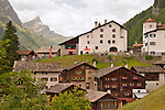 Typical Swiss architecture in the ski resort town of Splugen