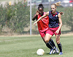 28 September 2006: Lindsay Tarpley (right) and Tina Frimpong (left). The United States Women's National Team trained at the Home Depot Center in Carson, California.