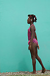 Caribbean girl in pink swimsuit / Viento Fr&iacute;o, Panam&aacute;.<br />