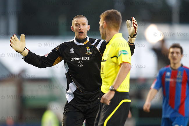 Ryan Esson complains as referee Calum Murray awards a penalty to Rangers