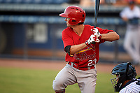 Palm Beach Cardinals designated hitter Danny Diekroeger (23) at bat in front of catcher Sharif Othman (62) during a game against the Tampa Yankees on July 25, 2017 at George M. Steinbrenner Field in Tampa, Florida.  Tampa defeated Palm beach 7-6.  (Mike Janes/Four Seam Images)