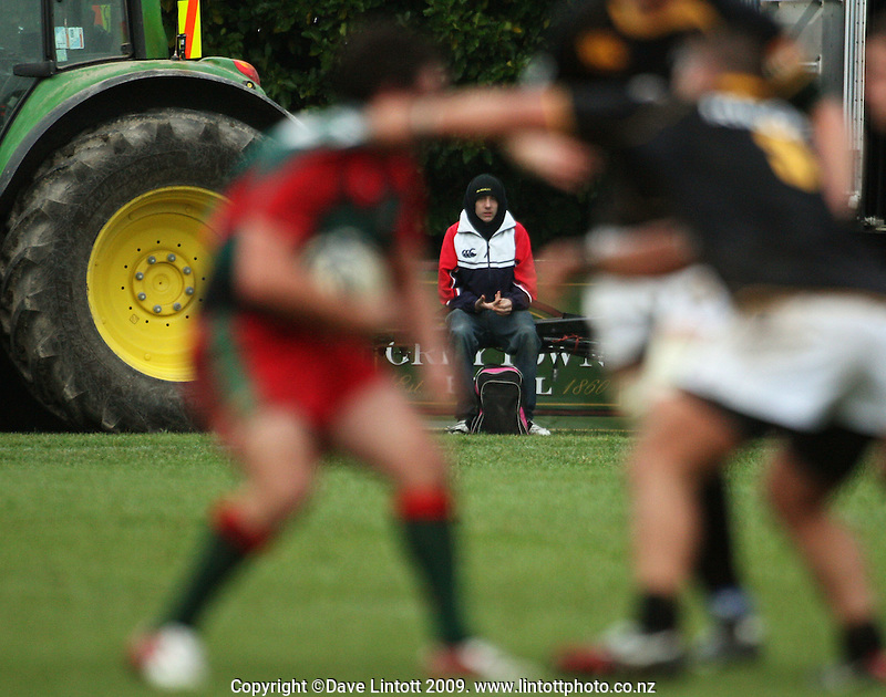 A fan watches the game from a tractor trailer during the Ranfurly Shield rugby match between the Wellington Lions and Wairarapa Bush at Trust House Memorial Park, Masterton, New Zealand on Saturday, 27 September 2008. Photo: Dave Lintott / lintottphoto.co.nz
