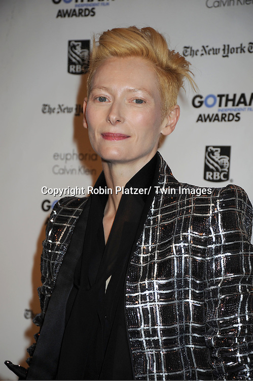 Tilda Swinton in Hader Ackerman attends IFP'S 21st Annual Gotham Independent Film Awards on November 28, 2011 at Cipriani Wall Street in New York City.