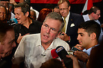 SWEETWATER, FL - MAY 18: Former Florida Governor and potential Republican presidential candidate Jeb Bush greets people as he attends a fundraising event at the Jorge Mas Canosa Youth Center on May 18, 2015 in Sweetwater, Florida. Mr. Bush is thought to be seeking to run for the Republican nomination but he has yet to formally announce his intentions.  ( Photo by Johnny Louis / jlnphotography.com )