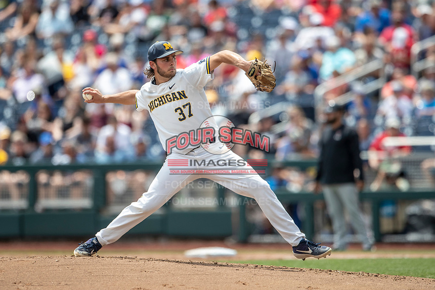 Michigan Wolverines pitcher Karl Kauffmann (37) delivers a pitch to the plate during Game 11 of the NCAA College World Series against the Texas Tech Red Raiders on June 21, 2019 at TD Ameritrade Park in Omaha, Nebraska. Michigan defeated Texas Tech 15-3 and is headed to the CWS Finals. (Andrew Woolley/Four Seam Images)