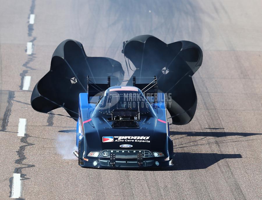 Feb 23, 2019; Chandler, AZ, USA; NHRA funny car driver Blake Alexander during qualifying for the Arizona Nationals at Wild Horse Pass Motorsports Park. Mandatory Credit: Mark J. Rebilas-USA TODAY Sports