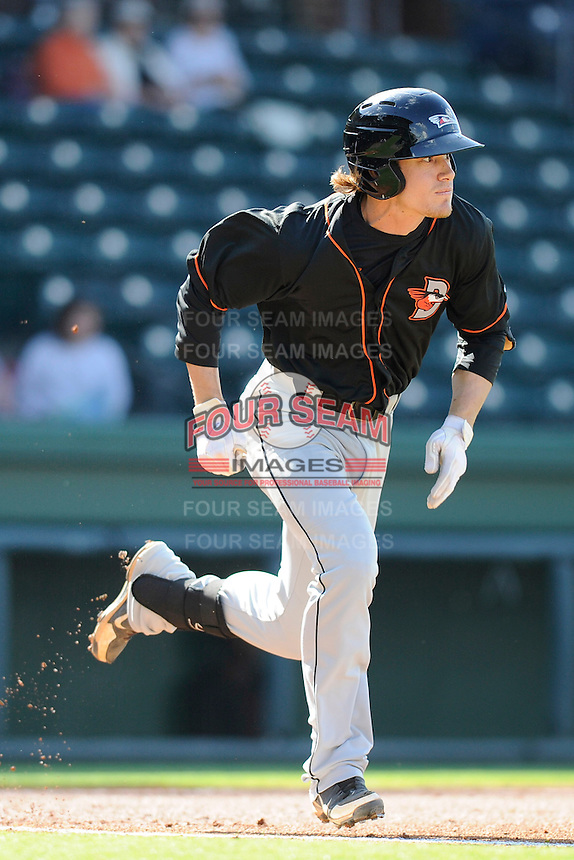 Infielder Creede Simpson (9) of the Delmarva Shorebirds bats in a game against the Greenville Drive on Monday, April 29, 2013, at Fluor Field at the West End in Greenville, South Carolina. Delmarva won, 6-5. (Tom Priddy/Four Seam Images)