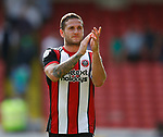 Billy Sharp of Sheffield Utd applauds the fans during the Championship match at Bramall Lane, Sheffield. Picture date 26th August 2017. Picture credit should read: Simon Bellis/Sportimage