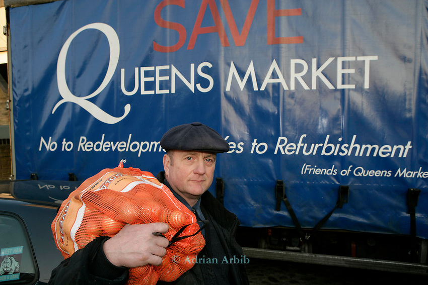 Danny Woodards - His family have four generations of  market trader history.   Danny has several pitches in  Queens Market, Upton Park. East London and is fighting to stop the market from being closed down for redevelopment.