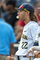 Michigan Wolverines outfielder Jordan Brewer (22) before Game 2 of the NCAA College World Series Finals on June 25, 2019 at TD Ameritrade Park in Omaha, Nebraska. Vanderbilt defeated Michigan 4-1. (Andrew Woolley/Four Seam Images)