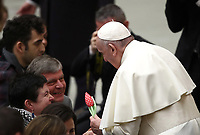 Papa Francesco saluta i fedeli al termine dell'udienza Generale del mercoledi' in aula Paolo VI in Vaticano, 16 gennaio 2019.<br /> Pope Francis greets faithful at the end of his weekly general audience in Paul VI Hall at the Vatican, on January 16, 2019.<br /> UPDATE IMAGES PRESS/Isabella Bonotto<br /> <br /> STRICTLY ONLY FOR EDITORIAL USE