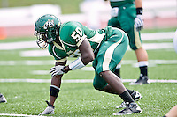 October 2, 2010:   Jacksonville Dolphins linebacker Montaque Mack (50) during Pioneer Football League action between the San Diego Toreros and Jacksonville University Dolphins at D. B. Milne Field in Jacksonville, Florida.  Jacksonville defeated San Diego 35-28.