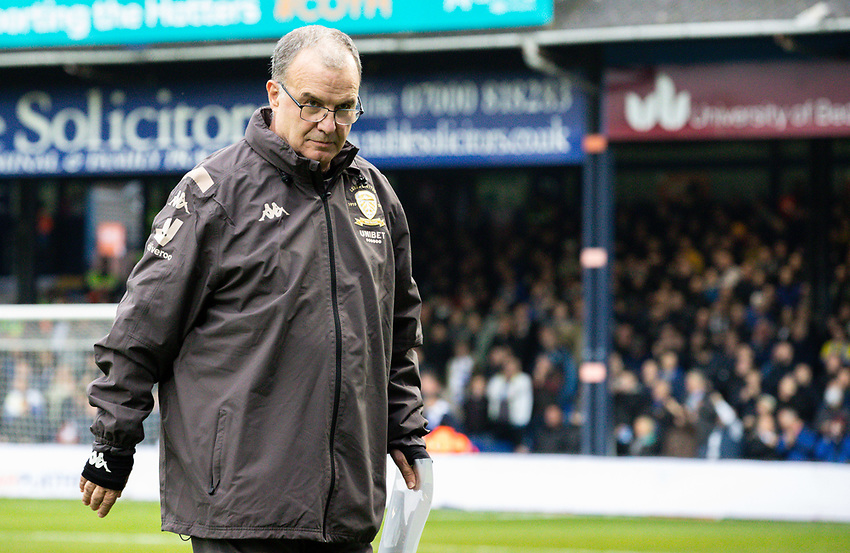 Leeds United manager Marcelo Bielsa heads for the away bench<br /> <br /> Photographer Alex Dodd/CameraSport<br /> <br /> The EFL Sky Bet Championship - 191123 Luton Town v Leeds United - Saturday 23rd November 2019 - Kenilworth Road - Luton<br /> <br /> World Copyright © 2019 CameraSport. All rights reserved. 43 Linden Ave. Countesthorpe. Leicester. England. LE8 5PG - Tel: +44 (0) 116 277 4147 - admin@camerasport.com - www.camerasport.com