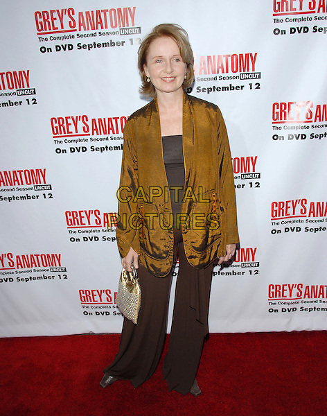 KATE BURTON.The Grey's Anatomy 2nd Season DVD Launch held at Social in Hollywood, California, USA..September 5th, 2006.Ref: DVS.full length green gold jacket top brown trousers bag purse.www.capitalpictures.com.sales@capitalpictures.com.©Debbie VanStory/Capital Pictures