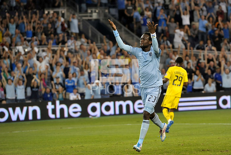 Sporting KC midfielder Kei Kamara celebrates the opening goal from a penalty kick... Sporting Kansas City defeated Columbus Crew 2-1 at LIVESTRONG Sporting Park, Kansas City, Kansas.
