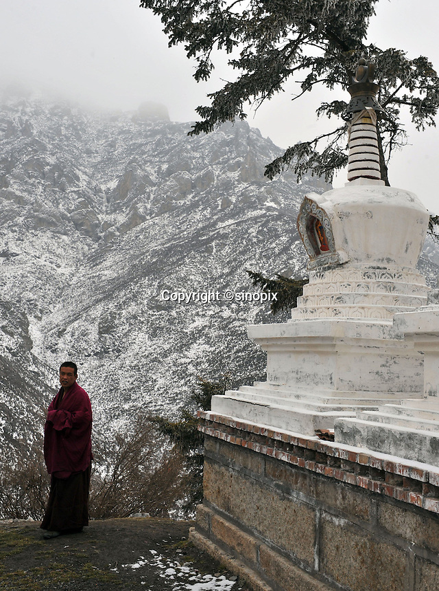 A monk looks over the mountains at an outpost of the Youning Temple near Xining, Qinghai Province. Qinghai Province in western China borders Tibet and parts were the scenes of disturbance earlier this year, 2008..13 Nov 2008