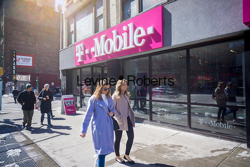 A T-Mobile USA store is seen in the Chelsea neighborhood of New York on Monday, March 20, 2017. (© Richard B. Levine)