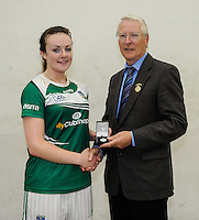 20th September 2014; <br /> GAA Handball President Willie Roche presents the silver medal to Martina McMahon of Limerick<br /> M Donnelly All-Ireland Ladies 60x30 Handball Singes Final<br /> Catriona Casey (Cork) v Martina McMahon (Limerick) . <br /> Abbeylara, Co Longford<br /> Picture credit: Tommy Grealy/actionshots.ie