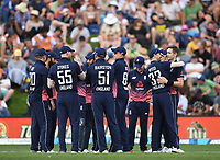 England players celebrate the wicket of Guptill.<br /> New Zealand Black Caps v England, ODI series, University Oval in Dunedin, New Zealand. Wednesday 7 March 2018. &copy; Copyright Photo: Andrew Cornaga / www.Photosport.nz