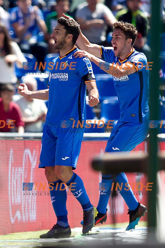 Getafe CF's  Jorge Molina and Jaime Mata celebrate goal  during La Liga match. May 05,2019. (ALTERPHOTOS/Alconada)<br /> Liga Campionato Spagna 2018/2019<br /> Foto Alterphotos / Insidefoto <br /> ITALY ONLY