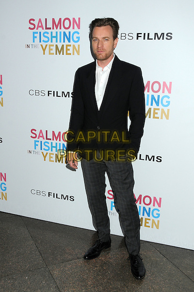 Ewan McGregor.CBS Films' U.S. Premiere of 'Salmon Fishing In The Yemen' held at The Directors Guild of America in West Hollywood, California, USA..March 5th, 2012.full length jacket suit stubble facial hair white black grey gray trousers hand in pocket .CAP/ADM/BP.©Byron Purvis/AdMedia/Capital Pictures.