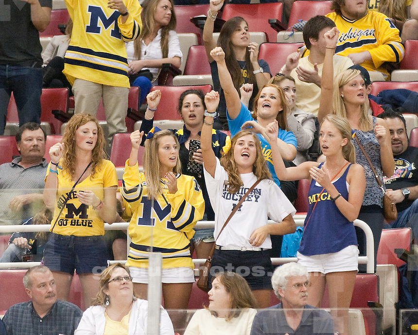 The University of Michigan men's ice hockey team defeated Bowling Green, 3-2 (2OT), in the CCHA semifinals at Joe Louis Arena in Detroit, Mich., on March 16, 2012.
