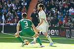 "Real Madrid's player Francisco Roman ""Isco"" and Leganes's  player Unai Bustinza during a match of La Liga at Santiago Bernabeu Stadium in Madrid. November 06, Spain. 2016. (ALTERPHOTOS/BorjaB.Hojas)"