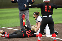 NWA Democrat-Gazette/CHARLIE KAIJO Rogers Heritage High School Kayla Paulo (15) attempts to tag out Northside High School Mairady Dempsey (22) during the 6A State Softball Tournament, Thursday, May 9, 2019 at Tiger Athletic Complex at Bentonville High School in Bentonville. Rogers Heritage High School lost to Northside High School 8-6
