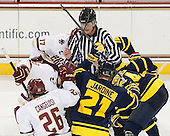 Chris Aughe - The Boston College Eagles defeated the visiting Merrimack College Warriors 2-1 on Wednesday, January 21, 2015, at Kelley Rink in Conte Forum in Chestnut Hill, Massachusetts.