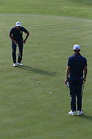 Henrik Stenson (Team Europe) with Justin Rose (Team Europe) on the 7th during Friday's Foursomes, at the Ryder Cup, Le Golf National, Île-de-France, France. 28/09/2018.<br /> Picture David Lloyd / Golffile.ie<br /> <br /> All photo usage must carry mandatory copyright credit (© Golffile | David Lloyd)