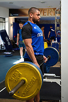 Joe Cokanasiga of Bath Rugby in the gym. Bath Rugby pre-season training on July 2, 2018 at Farleigh House in Bath, England. Photo by: Patrick Khachfe / Onside Images