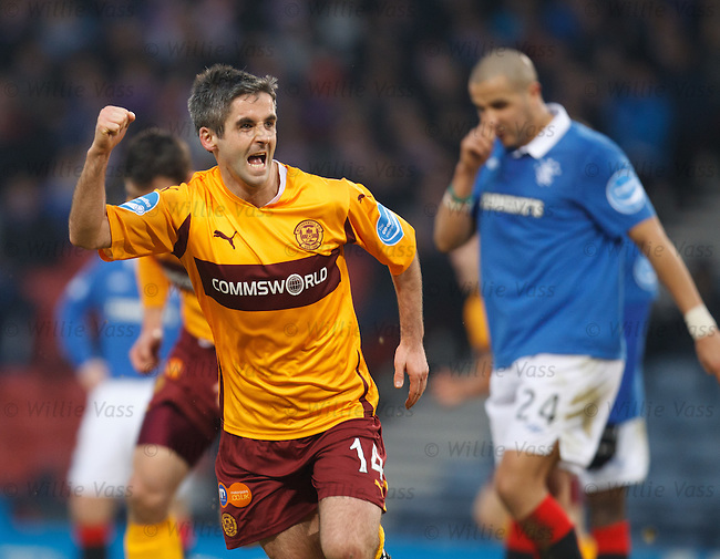 Keith Lasley celebrates his goal for Motherwell