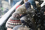 The snow settling on Oldham fans. Oldham v Portsmouth League 1