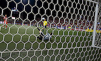 22 July 2009: Argentina's River Plate goalkeeper Leandro Chichizola #1 stops a penalty kick from Toronto FC forward Danny Dichio #9 during the International friendly between Toronto FC and Argentina's River Plate at BMO Field. The game ended in a 0-0 tie and River Plate won 4-3 in penalty kicks..