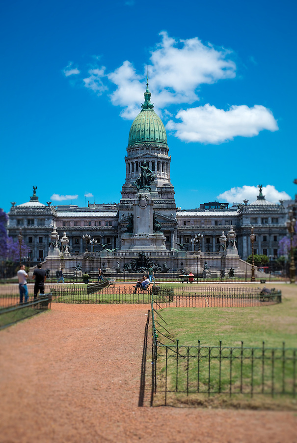 BUENOS AIRES - CIRCA NOVEMBER 2012: View of the Congressional Plaza and Congress Building, Circa November 2012. Popular among tourists, the plaza is also a preferred location for protesters and those who want to voice their opinion about Congress' activities.