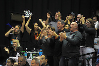 Hawks fans acknowledge their team after the national basketball league final between Wellington Saints and Bay Hawks at TSB Bank Arena, Wellington, New Zealand on Saturday, 5 July 2014. Photo: Dave Lintott / lintottphoto.co.nz