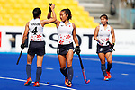 (L to R) <br /> Emi Nishikori, <br />  Shihori Oikawa (JPN), <br /> AUGUST 21, 2018 - Hockey : <br /> Women's Group A match <br /> between Japan 6-0 Hong Kong <br /> at Gelora Bung Karno Hockey Field <br /> during the 2018 Jakarta Palembang Asian Games <br /> in Jakarta, Indonesia. <br /> (Photo by Naoki Morita/AFLO SPORT)
