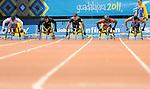 November 14 2011 - Guadalajara, Mexico:  Isaiah Christophe on his way to winning a Bronze Medal in the 100m Final at the 2011 Parapan American Games in Guadalajara, Mexico.  Photos: Matthew Murnaghan/Canadian Paralympic Committee