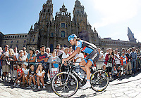 Thomas Dekker passes by the front of the Obradoiro of the Cathedral of Santiago de Compostela before the stage of La Vuelta 2012 between Santiago de Compostela and Ferrol.August 31,2012. (ALTERPHOTOS/Acero)