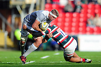 Tom Ellis of Bath Rugby is tackled in possession. Aviva Premiership match, between Leicester Tigers and Bath Rugby on September 25, 2016 at Welford Road in Leicester, England. Photo by: Patrick Khachfe / Onside Images