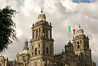 Steeples of the Metropolitan Cathedral or Catedral Metropolitano on the Zocalo in downtown Mexico City