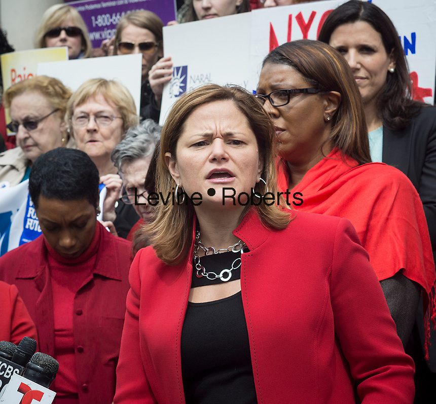 NY City Council Speak Melissa Mark-Viverito speaks on the steps of City Hall in New York on Tuesday, April 8, 2014 at a rally against pay disparity on Equal Pay Day. The protesters want NY State to pass the Women's Equality Act. Employees are currently prohibited from discussing or asking about salaries and the act, as well as the Paycheck Fairness Act currently in Congress would prohibit employers from retaliating against workers who discuss salaries. The gender wage gap is averaged at 77 percent. (© Richard B. Levine)