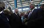 Palestinian Prime Minister Rami Hamdallah visits a water desalination plant in Khan Younis in the southern Gaza Strip October 5, 2017. Photo by Mohammed Asad