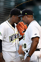Tony Dibrell (8) of the Columbia Fireflies is congratulated by pitching coach Jonathan Hurst during a game against the Charleston RiverDogs in which he set a Fireflies single-season strikeout record of 138 on Tuesday, August 28, 2018, at Spirit Communications Park in Columbia, South Carolina. Columbia won, 11-2. (Tom Priddy/Four Seam Images)