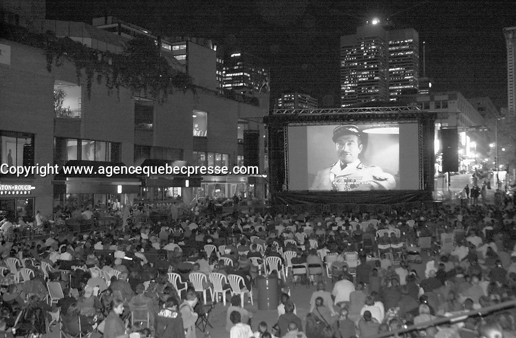 September 2,  2003, Montreal, Quebec, Canada<br /> <br /> Outdoor projection of CASABLANCA during The World Film Festival<br /> september 2 2003<br /> <br /> The Festival runs from August 27th to september 7th, 2003<br /> <br /> <br /> Mandatory Credit: Photo by Pierre Roussel- Images Distribution. (&copy;) Copyright 2003 by Pierre Roussel <br /> <br /> All Photos are on www.photoreflect.com, filed by date and events. For private and media sales