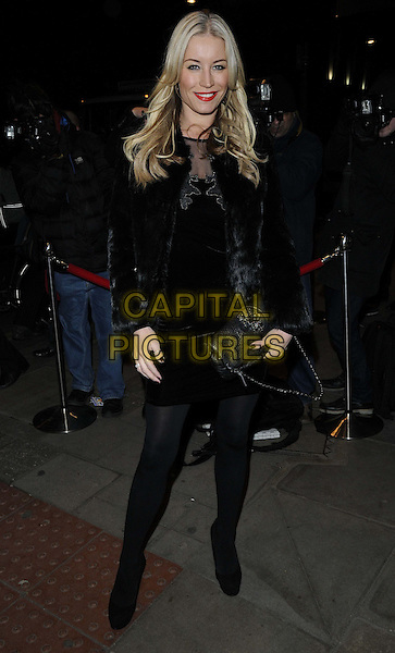 """Denise Van Outen.The """"Burn The Floor"""" press night, Shaftesbury Theatre,  London, England..March 11th, 2013.full length black fur jacket coat dress tights  clutch bag.CAP/CAN.©Can Nguyen/Capital Pictures."""