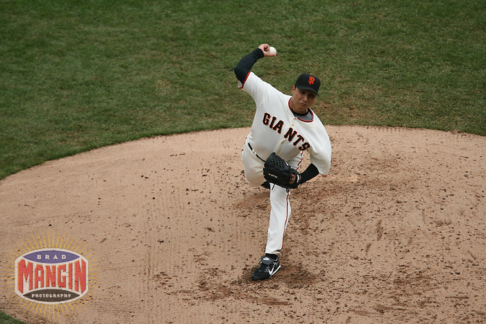 San Francisco - APRIL 7:  Russ Ortiz of the San Francisco Giants pitches against the Los Angeles Dodgers during their game at AT&T Park in San Francisco, CA on April 7, 2007. Photo by Brad Mangin