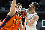 Real Madrid Facundo Campazzo and Valencia Basket Tibor Pleiss during Liga Endesa match between Real Madrid and Valencia Basket at Wizink Center in Madrid , Spain. March 25, 2018. (ALTERPHOTOS/Borja B.Hojas)
