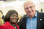 """Westbury, New York, USA. January 15, 2017.  L-R, DOROTHY GOSBY (Democrat - Councilmember Town of Hempstead) and JOHN BROOKS (Dem.- New York State Senator District 8) attend the """"Our First Stand"""" Rally against Republicans repealing the Affordable Care Act, ACA, taking millions of people off health insurance, making massive cuts to Medicaid, and defunding Planned Parenthood. Hosts were Reps. K. Rice (Democrat - 4th Congressional District) and T. Suozzi (Dem. - 3rd Congress. Dist.). It was one of dozens of Bernie Sanders' nationwide rallies for health care that Sunday."""