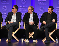 "HOLLYWOOD, CA - MARCH 17: David Goodman, Brannon Braga and Seth MacFarlane at the PaleyFest 2018 - ""The Orville"" panel at the Dolby Theatre on March 17, 2018 in Hollywood, California. (Photo by Scott Kirkland/Fox/PictureGroup)"